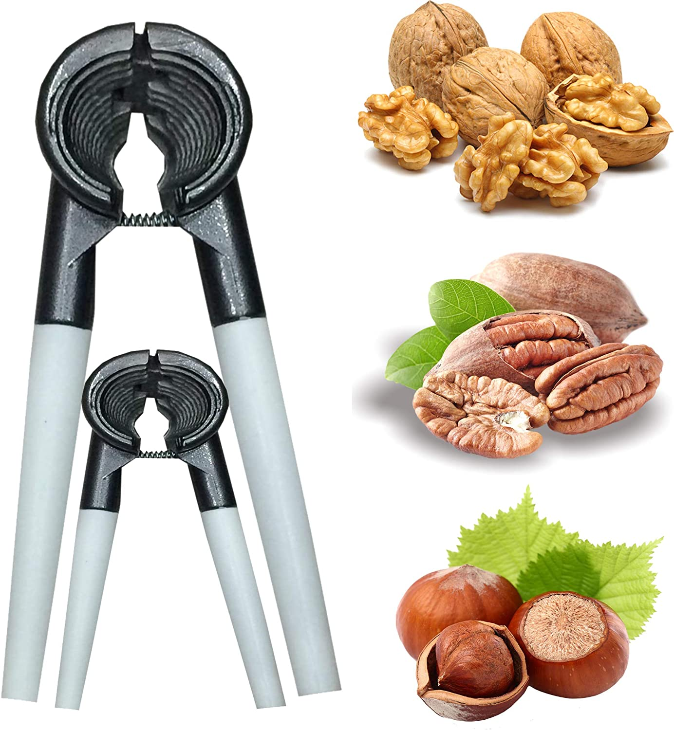 Heavy Duty Nut Cracker Innovative Design Works Great on Walnuts, Pecan Nuts, Hazelnuts, Almonds, Brazil Nuts and Many other Nuts - Very Easy and Quick to Use (Dual)
