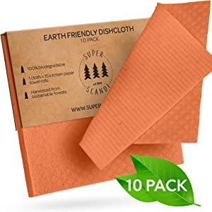 SUPERSCANDI Swedish Dishcloths Eco Friendly Reusable Sustainable Biodegradable Cellulose Sponge Cleaning Cloths for Kitchen Dish Rags Washing Wipes Paper Towel Replacement Washcloths (10 Pack Orange)