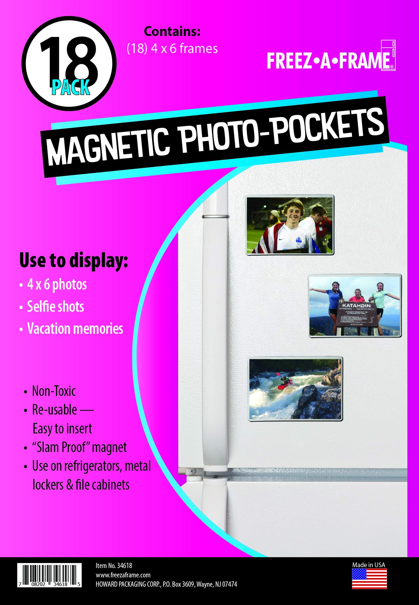 Freez A Frame Clear Magnetic Picture Frame Pockets For Refrigerator School Locker, or any Magnetic Surface 18 Pack Holds 4x6 Photos (4 x 6)