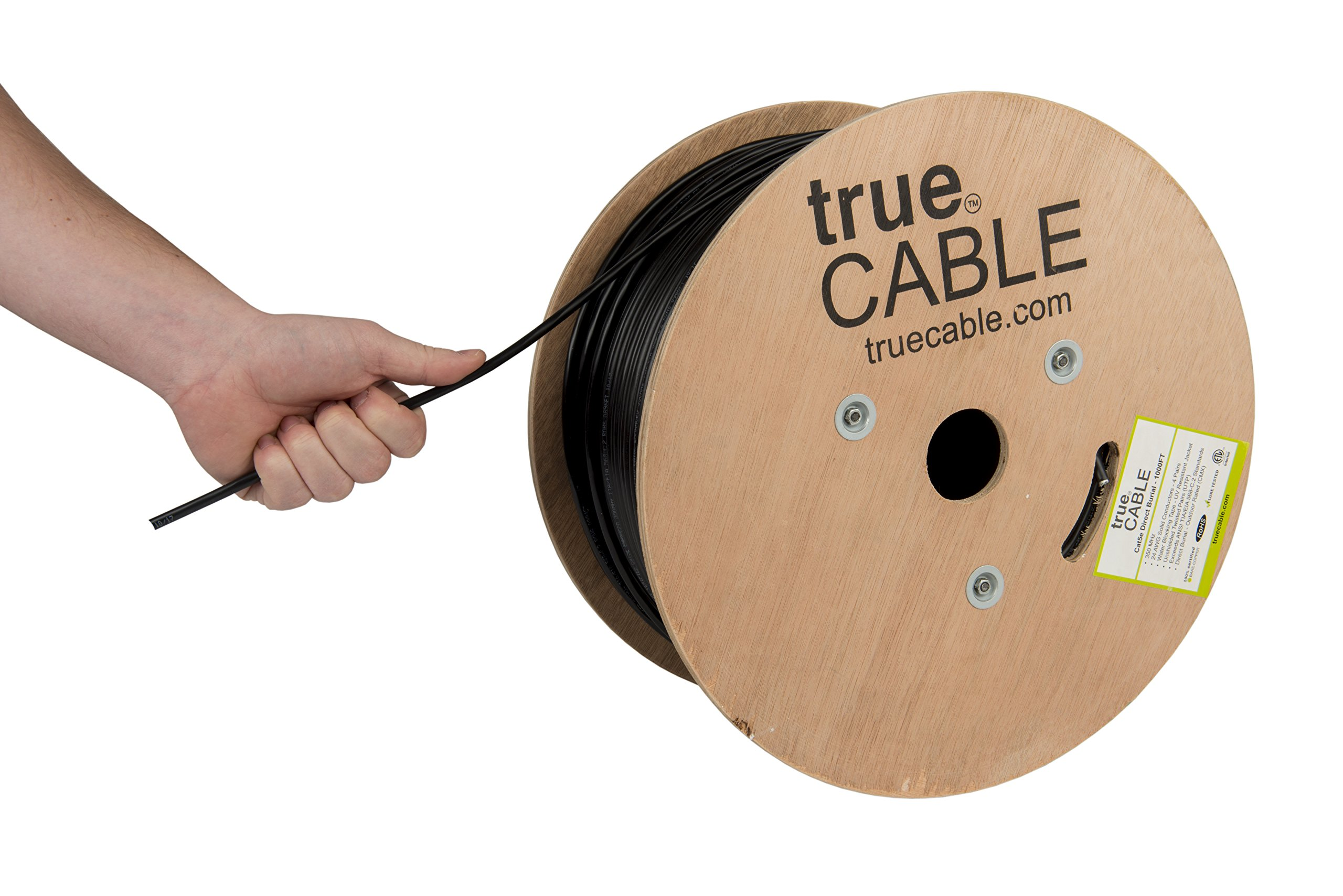 Cat5e Outdoor, 1000ft, Waterproof Direct Burial Rated CMX, Unshielded UTP, Solid Bare Copper Bulk Ethernet Cable, 350MHz, ETL Listed, Black, trueCABLE