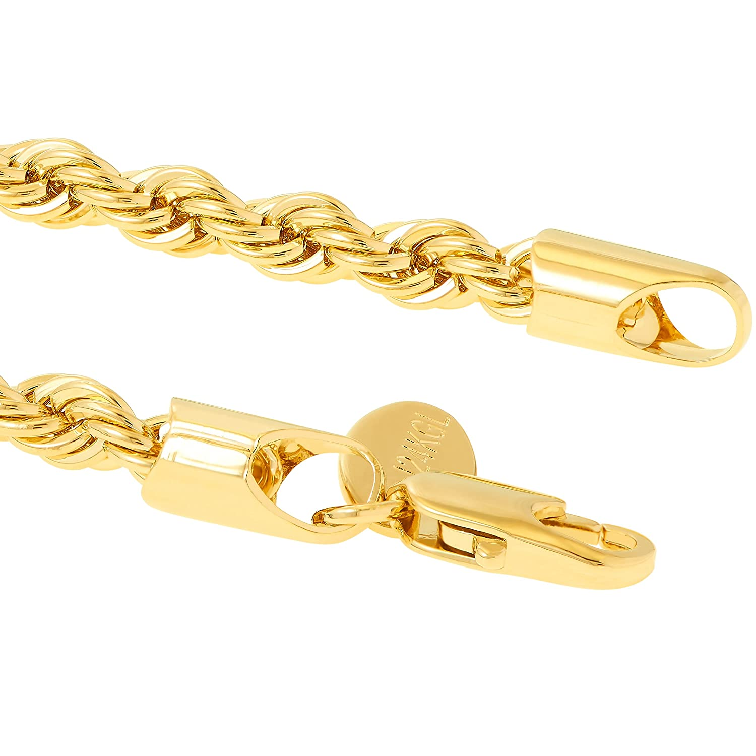 398c2ecd45aa8 Lifetime Jewelry 5mm Rope Chain Gold Bracelet for Men and Women - Up to 20X  More
