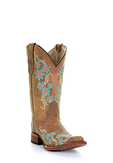 425d2fd33e4 Amazon.com | Corral Circle G Women's Roose Floral Embroidery Square Toe  Leather Cowgirl Boots - Tan | Mid-Calf