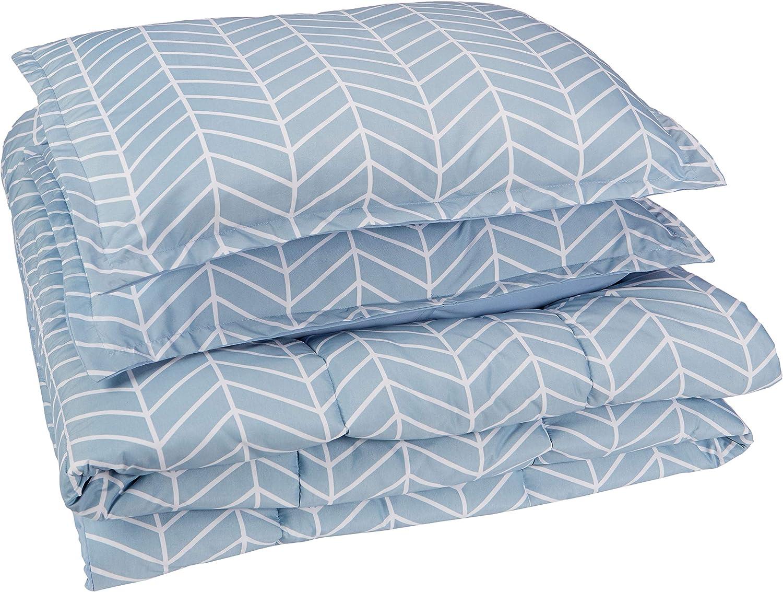 AmazonBasics Comforter Set, King, Blue Chevron, Microfiber, Ultra-Soft