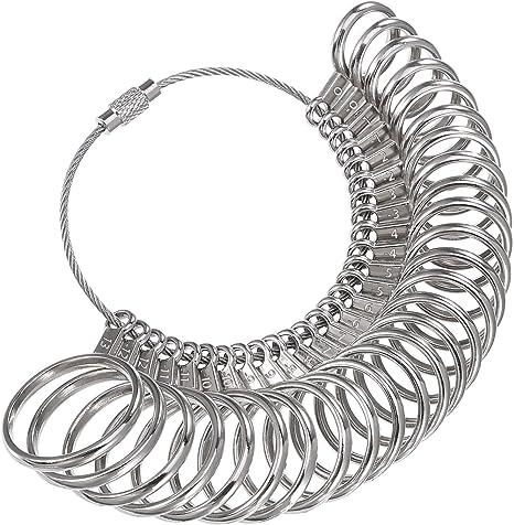 Medidor de anillos de acero inoxidable, medidor de dedos ...