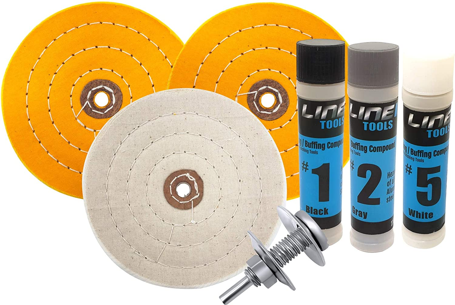 PURUI 9PC 6 Buffing Polishing Wheel Kit Used On Bench Grinder for Jewelry//Soft Metals,With 3PC 6 Buffing Wheel,3PC 100g Polishing Compound,2PC 1//2 Bench Grinder Spindle Adapter,1PC Microfibre Cloth