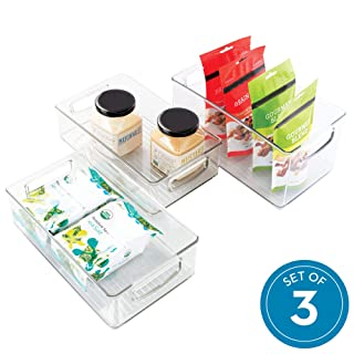 iDesign Plastic Storage Handles for Kitchen, Fridge, Freezer, Pantry, and Cabinet Organization, BPA-Free, Bin Set