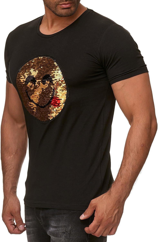 Red Bridge Camiseta de Hombre Emoji Reversible de Lentejuelas, Camisa de algodón cómico Negro: Amazon.es: Ropa y accesorios