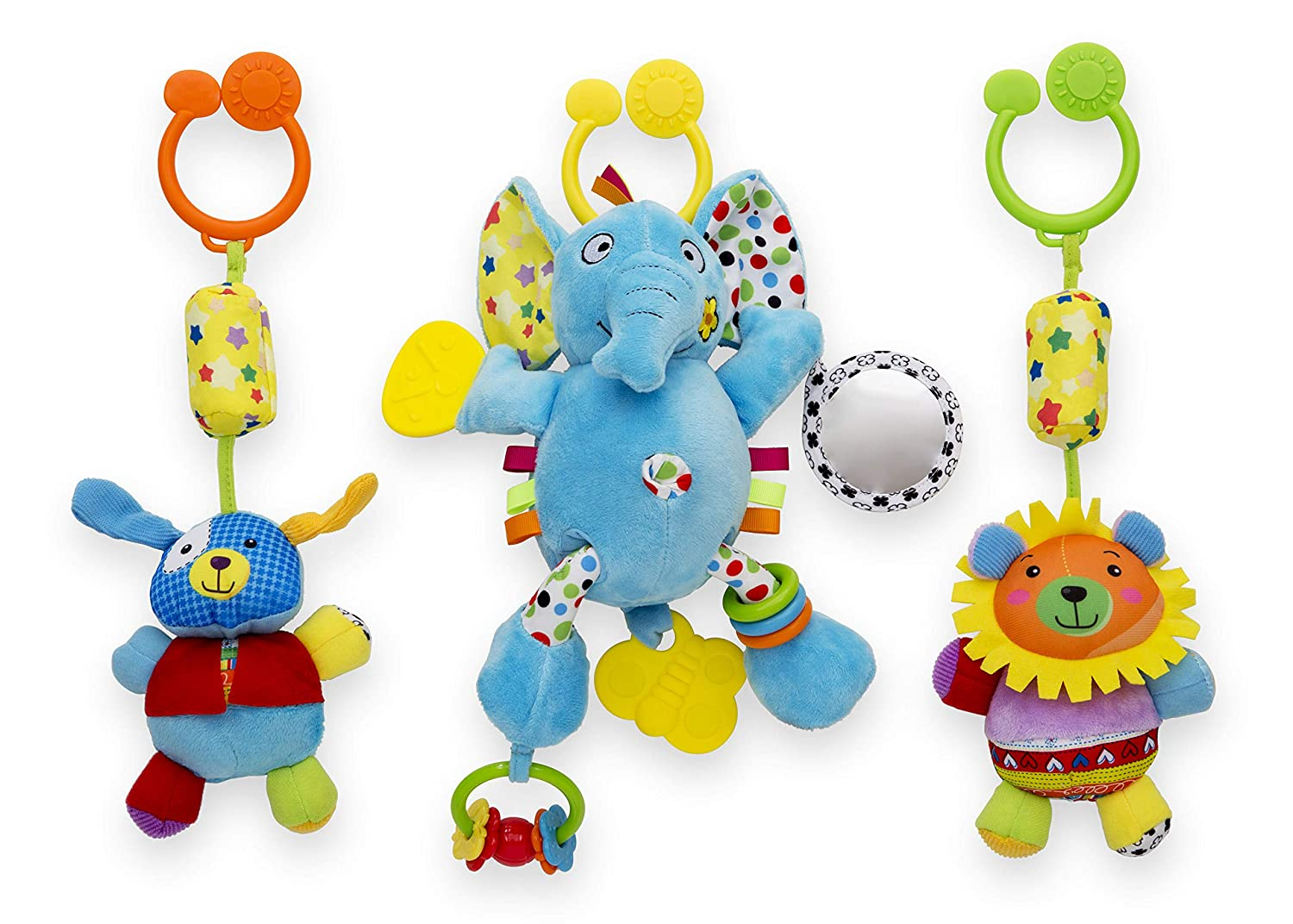 Delta Children Stroller Car Seat Activity and Teething Toys for Babies, Plush Toys Feature Chime Sounds, Vibration, Teethers, Rattles, Mirrors   Sensory Motor Skills Development, 3-Piece Set, Elephant