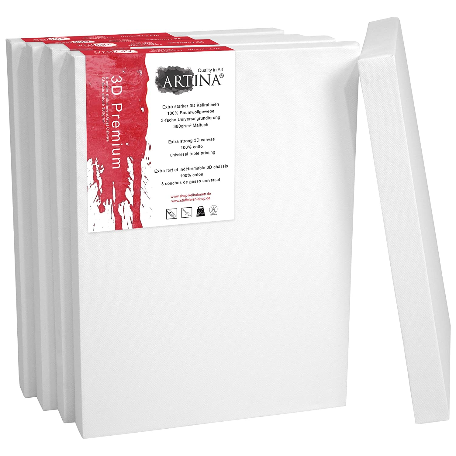 Artina 5 Deep Edge Canvases 50 x 50 cm Premium Quality Blank Art Canvas Bulk Stretched & Triple Primed 20 x 20 Inch