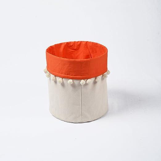 VLiving Cesta de almacenamiento, tela de lona de algodón, naranja ...