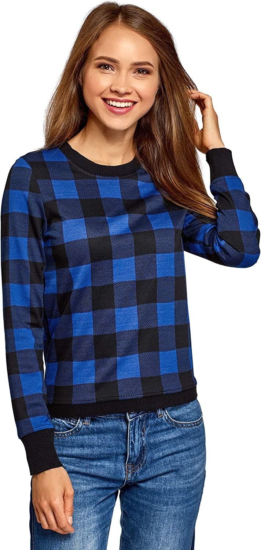 oodji Ultra Femme Sweat Shirt Droit /à Carreaux