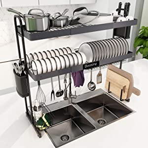 Over Sink Dish Drying Rack, Boosiny 2 Tier Stainless Steel Expandable Kitchen Dish Rack (27.5'' - 33.5''), Large Dish Drainer Shelf with Utensil Holder and Drainboard Set, Over the Sink Storage Rack