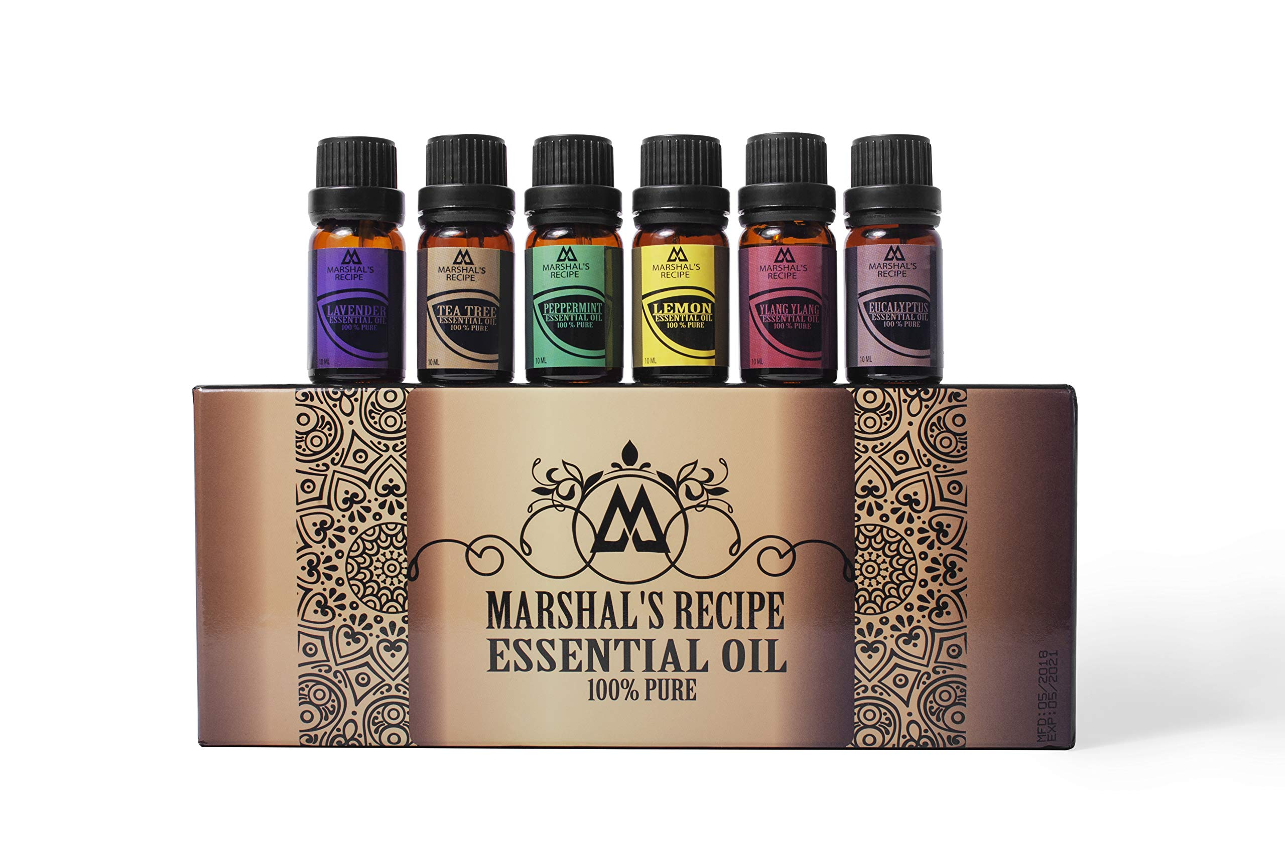 Marshal\'s Recipe Organic Essential Oil Kit (6 x10ml) - Six Aromas of The Highest Quality Tea Tree, Eucalyptus, Lavender, Ylang Ylang, Lemon and Peppermint