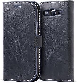 Mulbess Funda Samsung Galaxy S3 [Libro Caso Cubierta] [Bookstyle de Billetera Cuero] con Tapa Magnética Carcasa para Samsung Galaxy S3 / S3 Neo Case, Azul Marino: Amazon.es: Electrónica