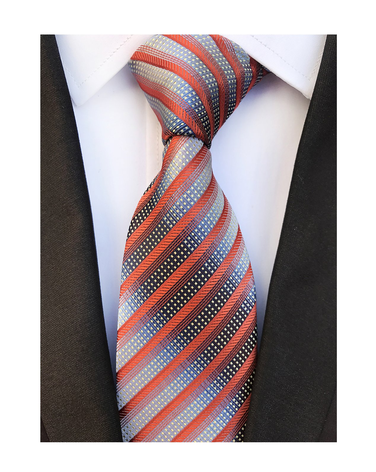 Men's Narrow Stripe Pattern Ties Orange Red Grey White Handmade Summer Neckties