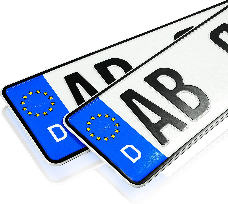 Targa per Auto Targa EU con Incisione Personalizzata targhe per Auto 2 targhe per Auto 520 x 110 mm Targa Standard per Auto Certificate DIN