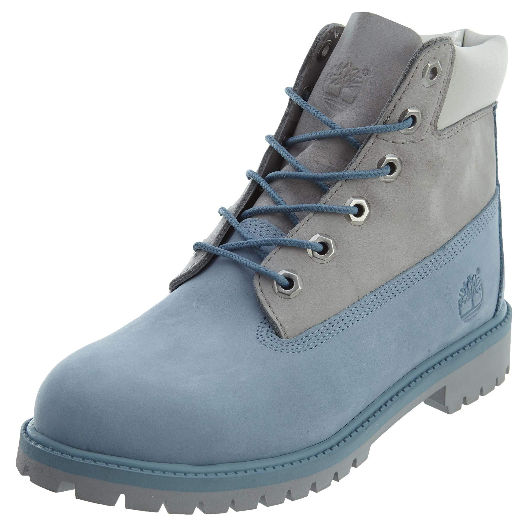 Timberland Big Kids 6 in. Classic Premium Boots (6 D(M) US, Blue/Grey)
