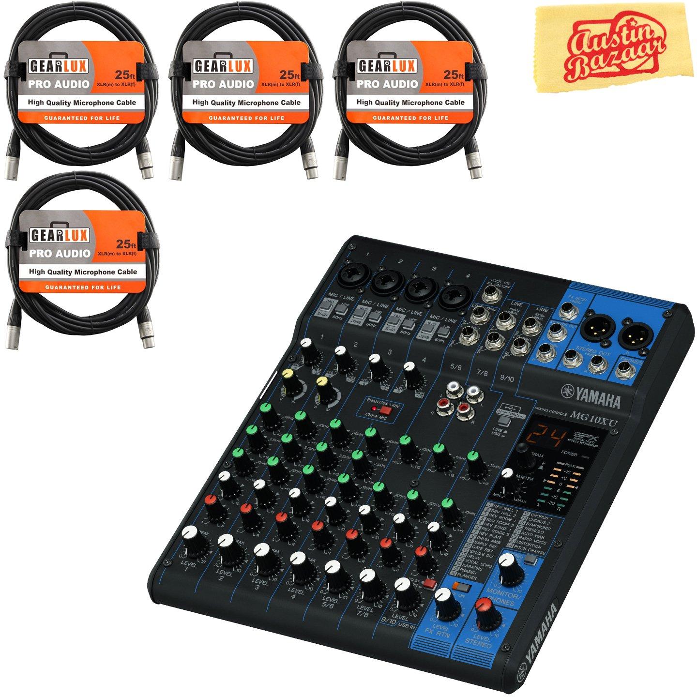 Yamaha MG10XU Mixer Bundle with 4 XLR Cables and Austin Bazaar Polishing Cloth