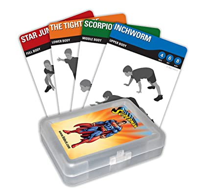 picture about Printable Workout Cards called FITDECK Small children Fitness Taking part in Playing cards for Guided Exercises, Superman