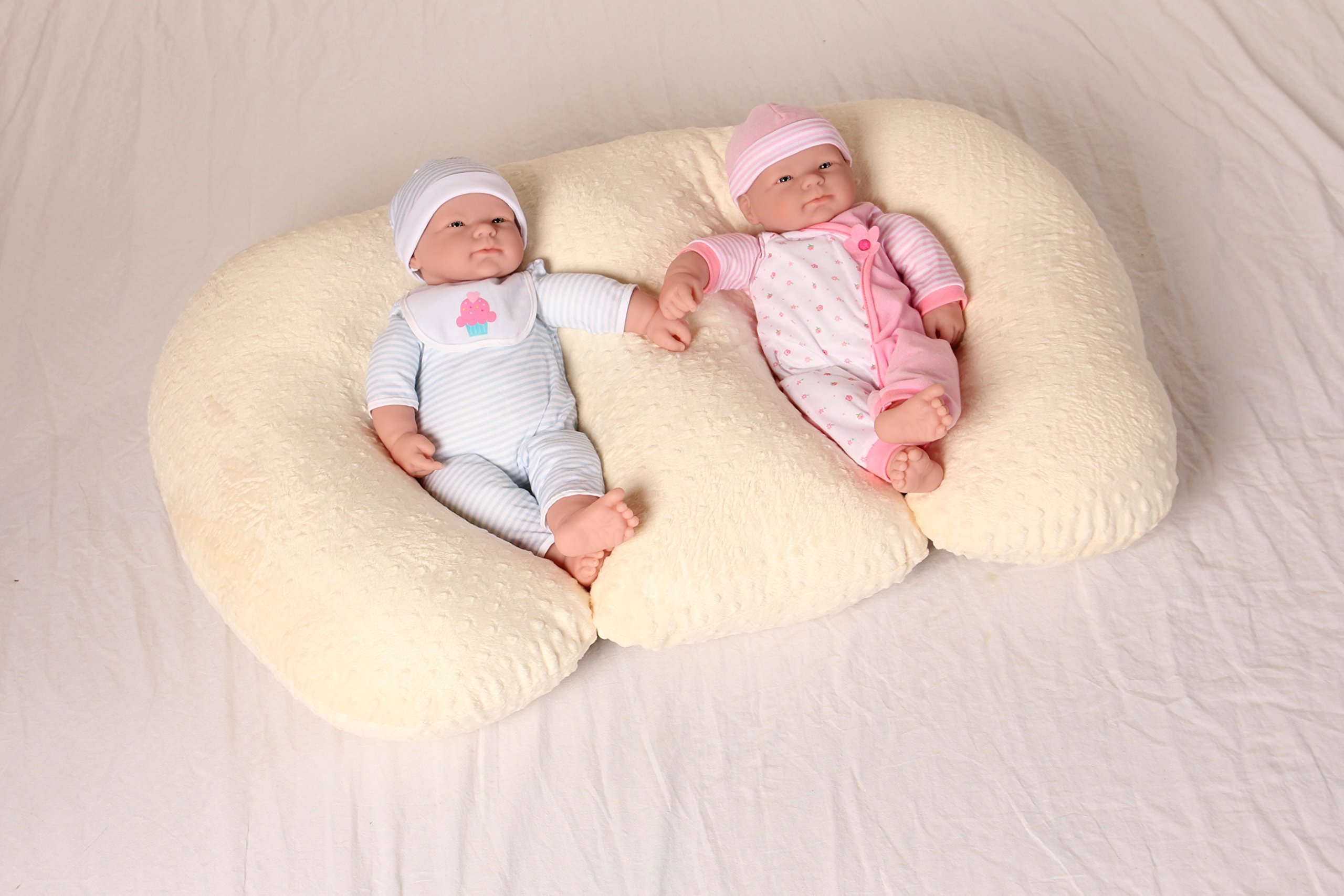 THE TWIN Z PILLOW - CREAM - 6 uses in 1 Twin Pillow ! Breastfeeding, Bottlefeeding, Tummy Time, Reflux, Support and Pregnancy Pillow! CUDDLE CREAM DOTS by Twin Z PIllow (Image #6)