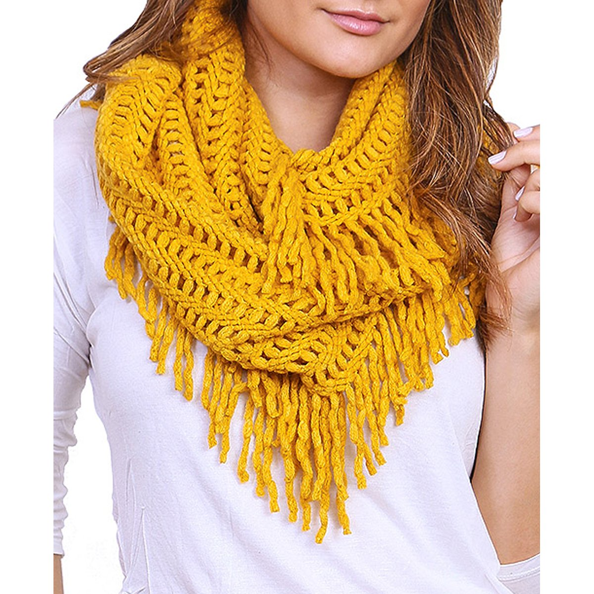 Fringe Knitted Crochet Cutout Infinity Scarf Mustard Color