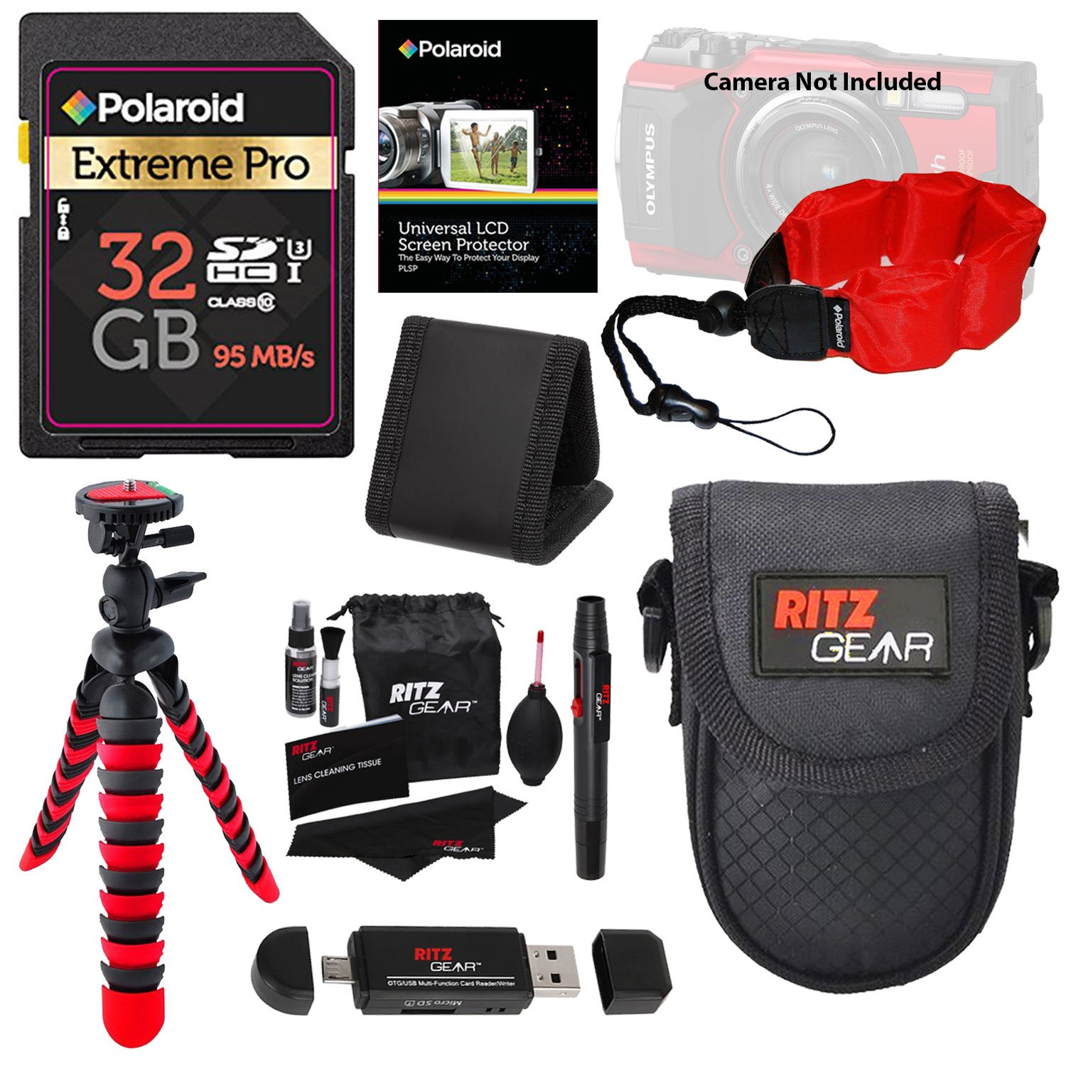 32GB Accessory Kit for Olympus TG-4 & TG-5 Camera Includes 32GB High Speed SD Card, 12'' Tripod, Camera Case, Floating Strap + More