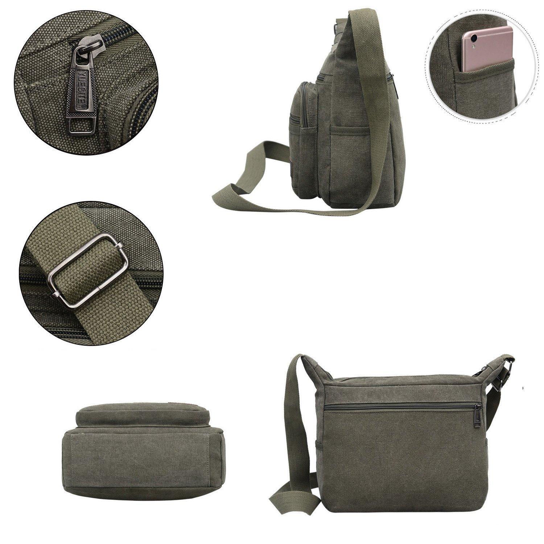 Mfeo Vintage Retro Canvas Shoulder Bag Multi Pocket Cross-body Messenger Bag (Canvas - Coffee) by Mfeo (Image #3)