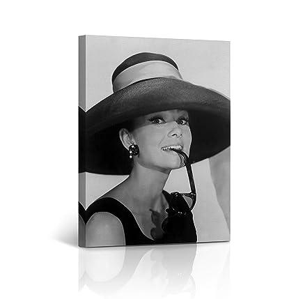 368d76327bb Canvas Print Audrey Hepburn Breakfast at Tiffany`s Sunglasses Big Hat  Vintage Home Wall Art