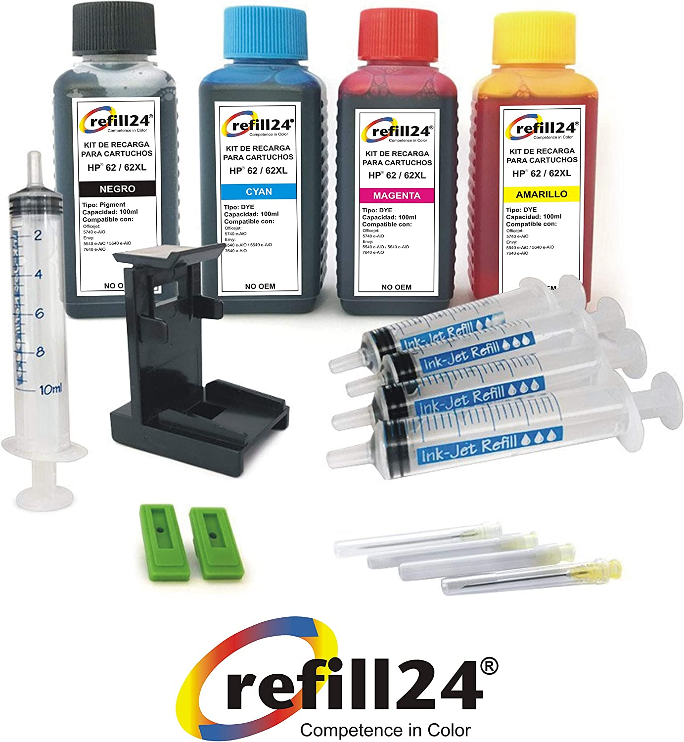 Kit de Recarga para Cartuchos de Tinta HP 62, 62 XL Negro y Color ...