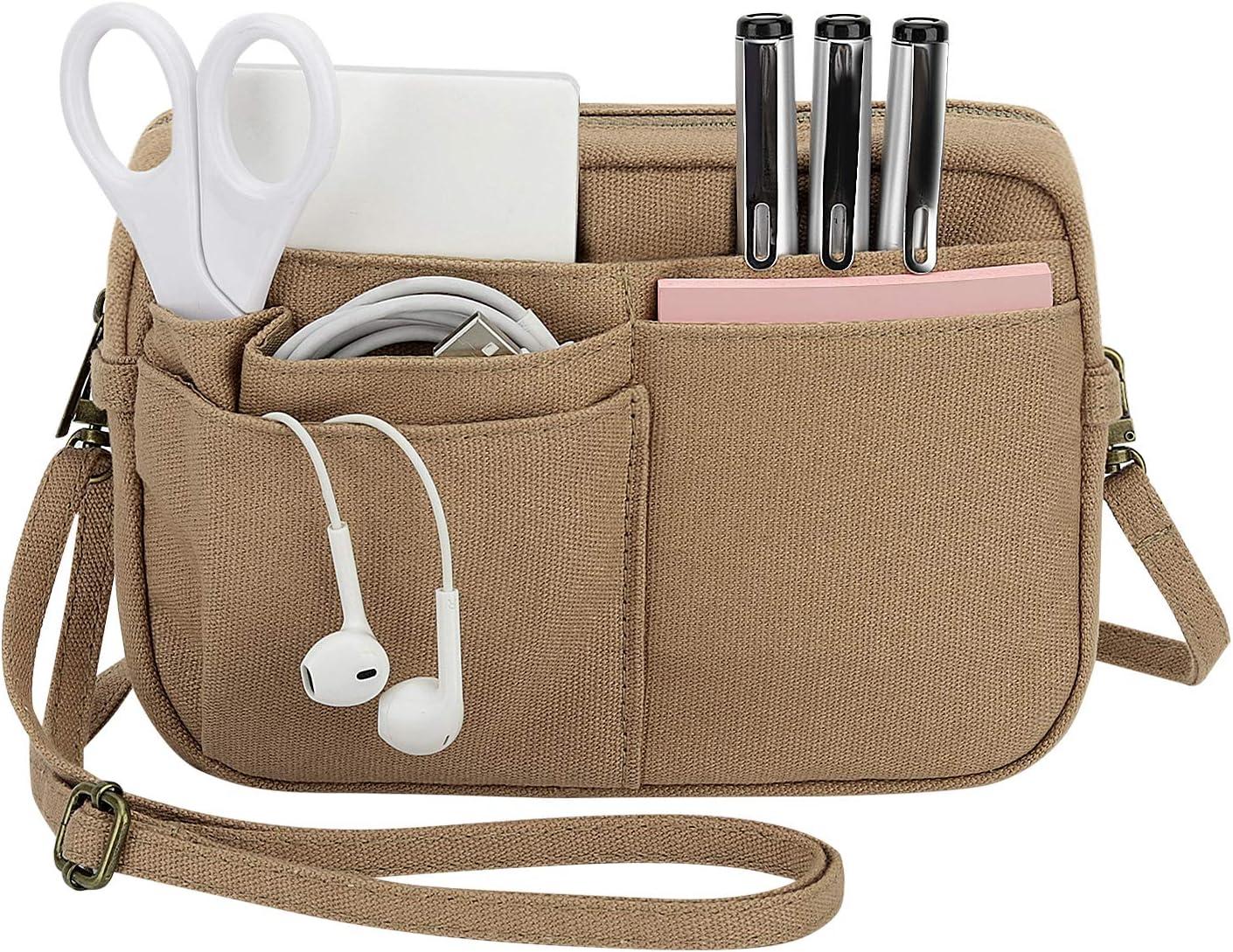 Dadanism Purse Bag Organizer Insert, 2-in-1 Canvas Multi-Pocket Bag Organizer with Zipper, Handbag & Tote Organizer, Bag in Bag, Toiletry Bag, Crossbody Bag with Adjustable Shoulder Strap - Brown