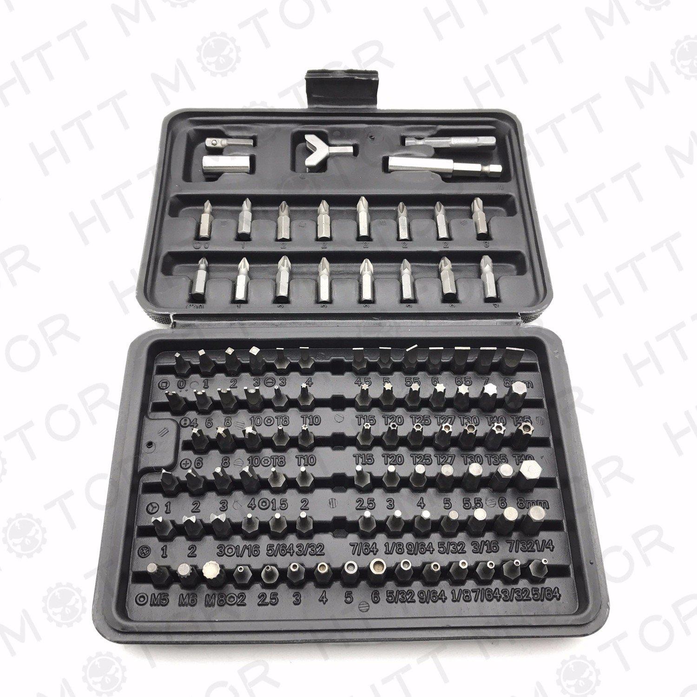 SMT MOTO- 100Pcs 1/4' Torx Hex Torq Security Bit Set Tamper Proof Case Screwdrivers Bits SMT-MOTO
