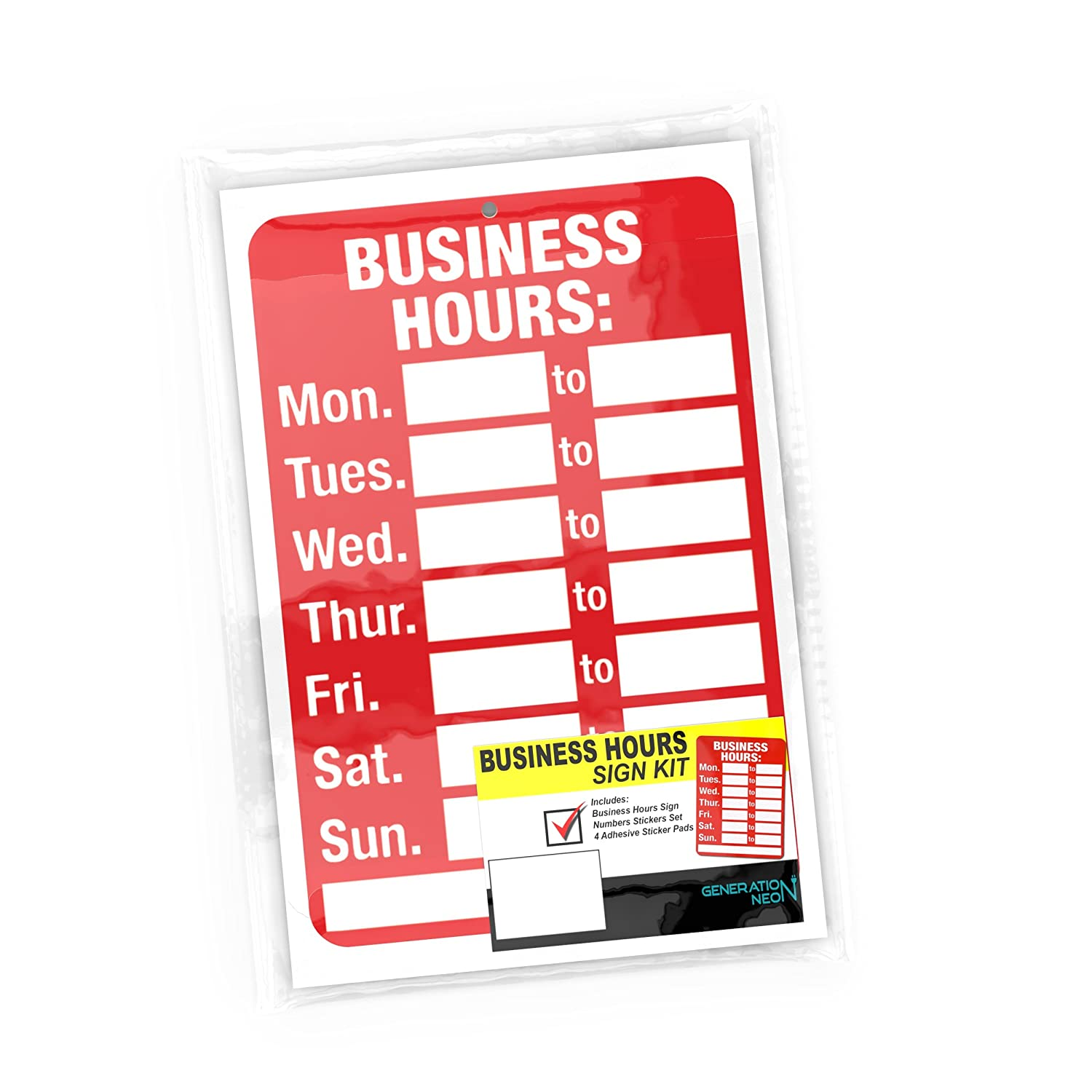 Open Signs, Business Hours Sign Kit - Bright Red and White Colors ...