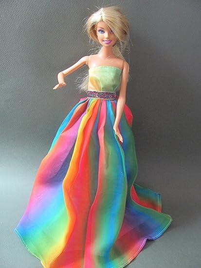 Amazoncom Zfinding Barbie Doll Clothes Dress Rainbow Dress Fit
