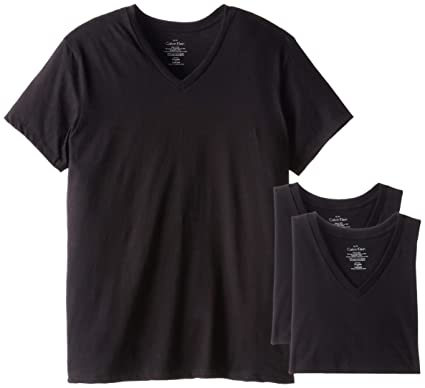 b919c0ac19be Calvin Klein Men's Cotton Classics Short Sleeve V-Neck T-Shirt, Black,