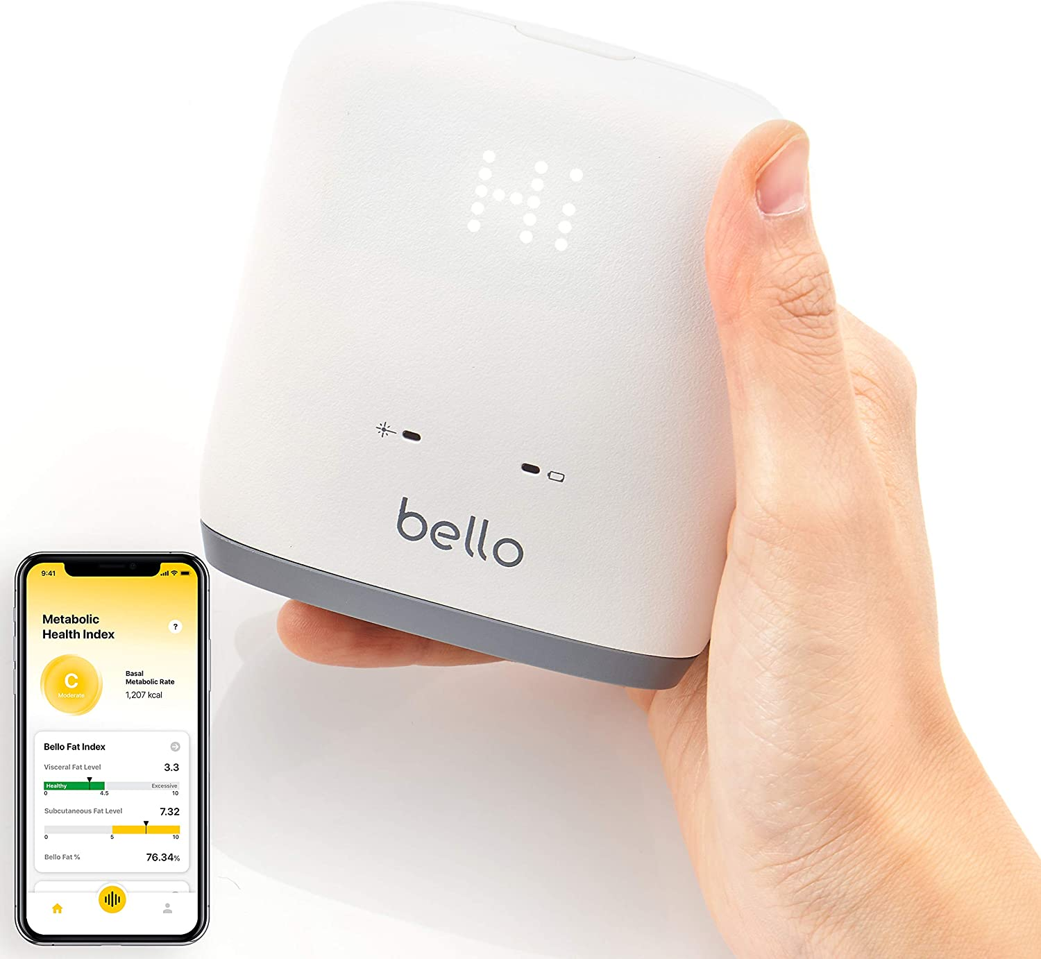 Bello - Belly Fat Scanner - Accurate Metabolic Health Analyzer with Smart App - Bluetooth, Handheld, Compatible with Apple Health and Google Fit