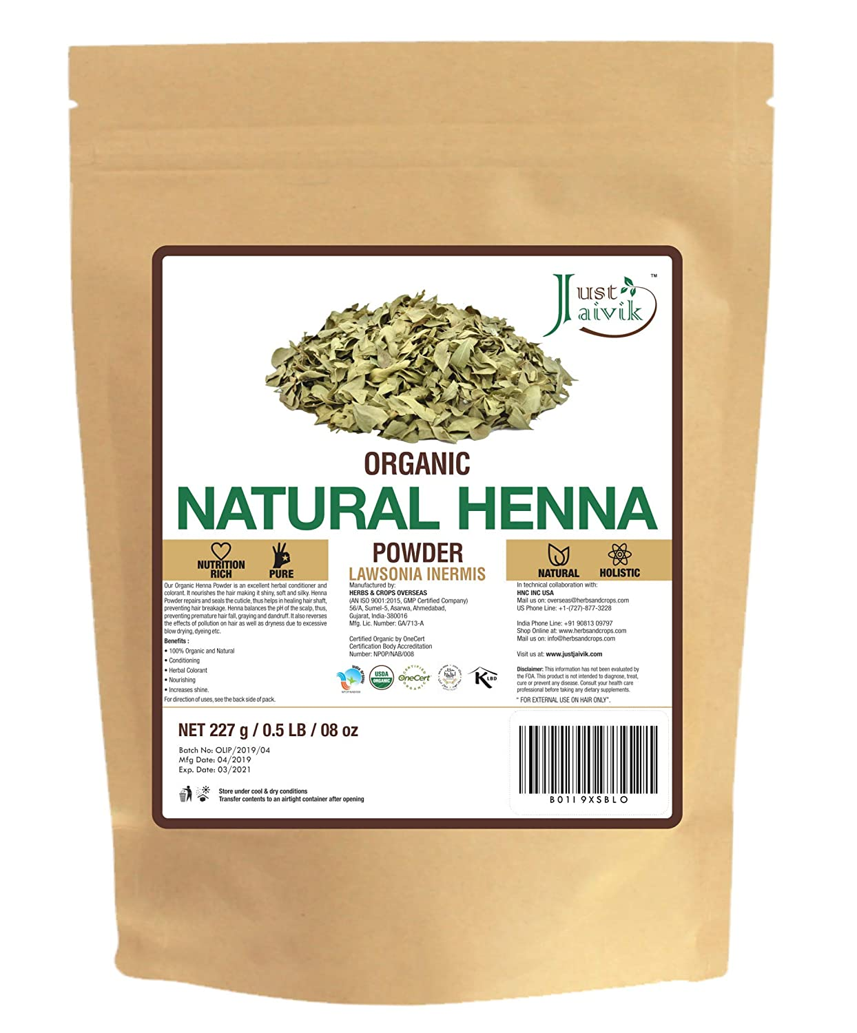 Just Jaivik 100% Organic USDA Certified Henna Powder (Lawsonia Inermis) For Hair Certified by OneCert Asia for USDA Organic Standard 227 Gms / 0.5 LB/ 8 Oz , 100% Natural , No chemical or additive.
