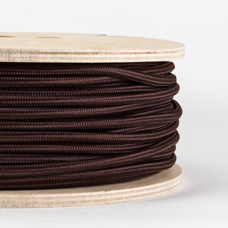 color marr/ón oscuro Cable redondo de 3 n/úcleos 10 metros tela trenzada antiguo vintage cable de alambre de electricidad liviano