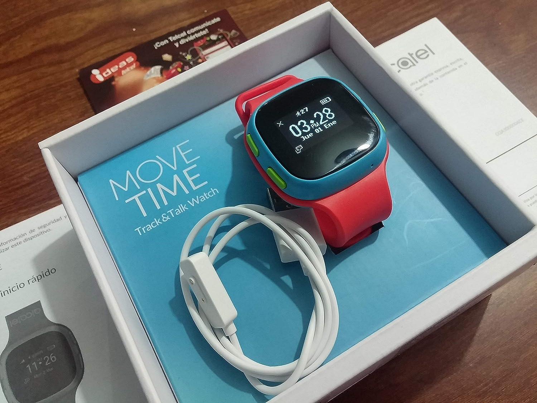 Alcatel Move Time SW10 Blue/Red Track&Talk Watch + Tarjeta 5 GB y 15 Minutos en Llamadas. Reloj Inteligente (satélite GPS, Pantalla OLED, 2,41cm ...