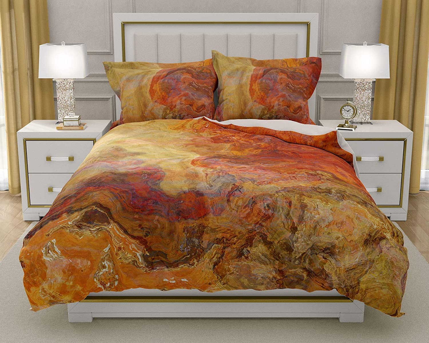 Image of Home and Kitchen King or Queen 3 pc Duvet Cover Set with abstract art, Magma