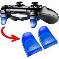 Ambertown 2Pairs L2 R2 Trigger Extenders Buttons for Playstation 4 PS4 PS4 Slim Pro Controller Clear Blue