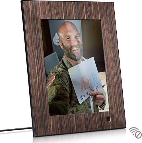 NIX Lux 8 Inch Digital Picture Frame – Wood Effect, IPS Display, Auto-Rotate Motion Sensor