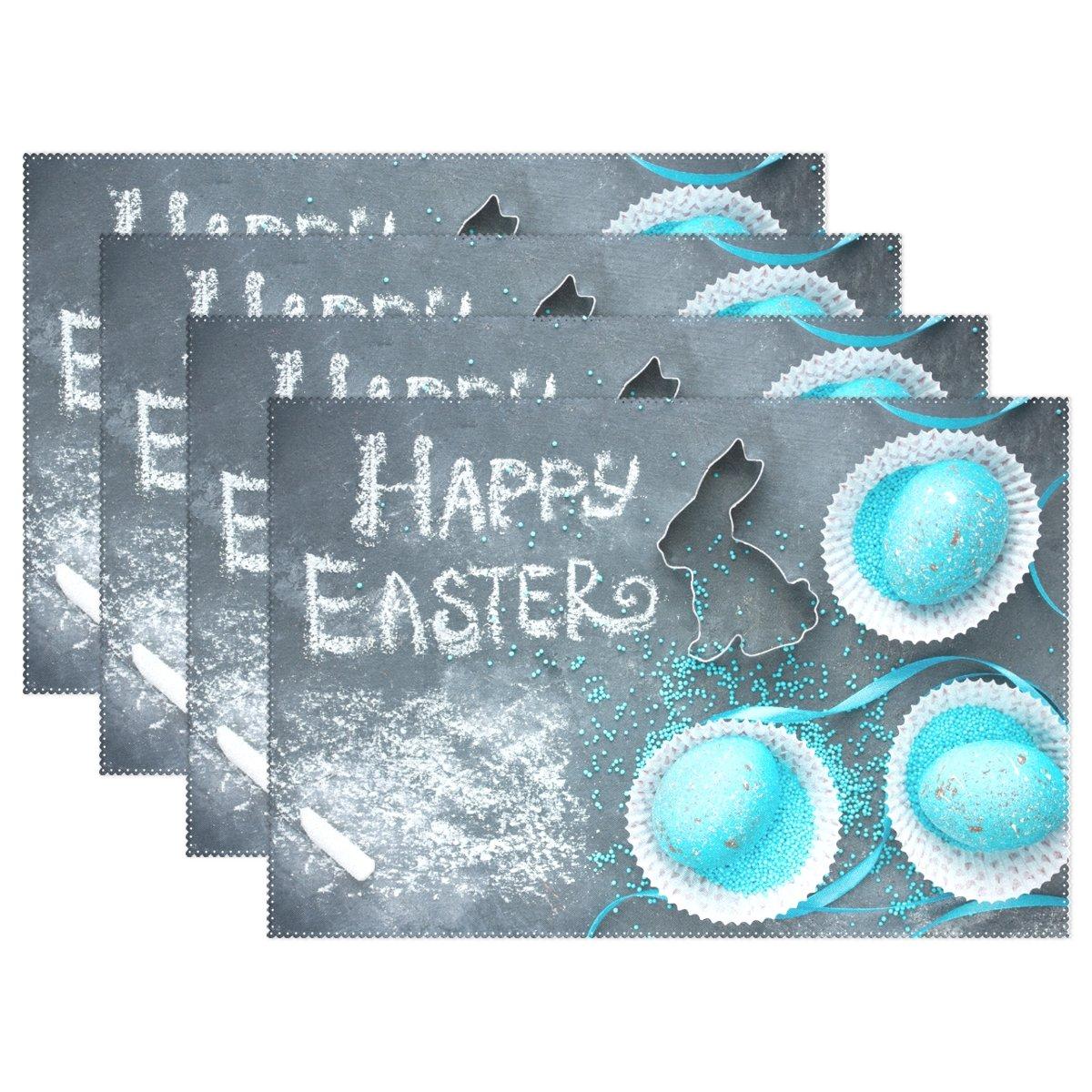 Alaza Happyイースターウサギと卵プレースマットプレートホルダーのセット1、ポリエステルテーブルの配置マットプロテクターキッチンダイニングルーム12