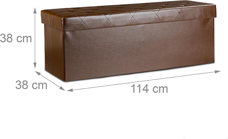 Marr/ón Piel Sint/ética 38 x 114 x 38 cm Relaxdays Ba/úl Almacenamiento Plegable con 2 Compartimentos