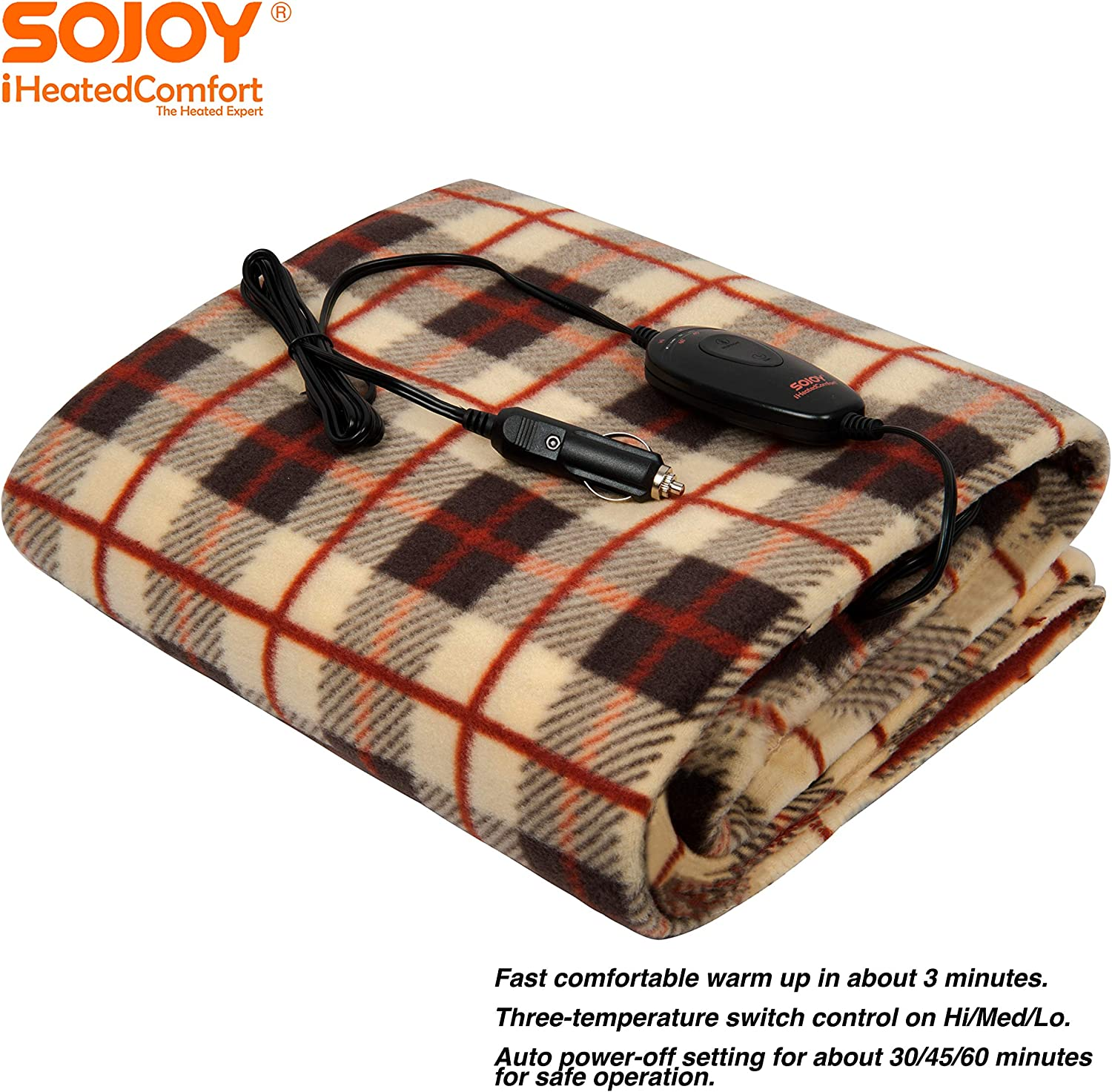 "Sojoy 12V Heated Smart Multifunctional Travel Electric Blanket for Car, Truck, Boats or RV with High/Low Temp Control (60""x 40"") (Checkered Cream & Tan)"