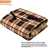 Sojoy 12V Heated Smart Multifunctional Travel Electric Blanket for Car, Truck, Boats or RV with High/Low Temp Control…