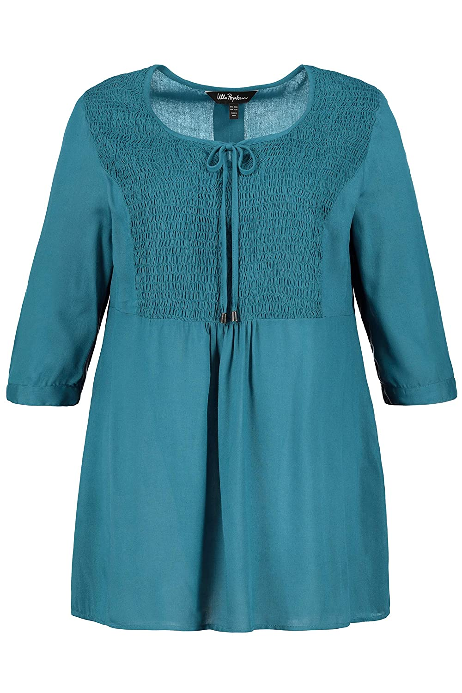 Ulla Popken Womens Plus Size Smocked Tie Neck Tunic Blouse 719369