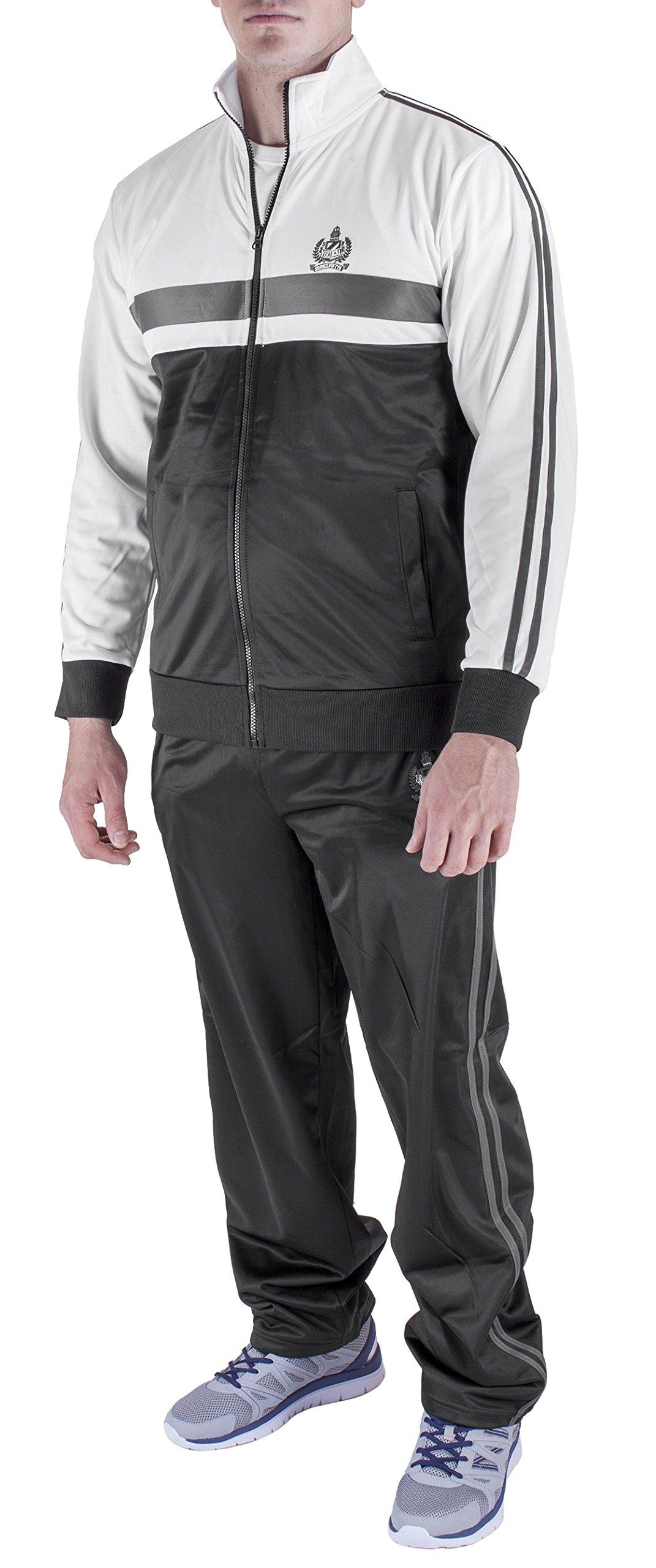 Vertical Sport Men's 2 Piece Jacket Pants Track Suit JS14 (Large, Black/White/Gray)