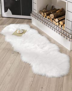 BAYKA Faux Sheepskin Fur Area Rug, Luxury Area Rug, Soft Furry Carpet Rug for Bedroom, Children's Room, Decor Rug 2x6 Feet, White