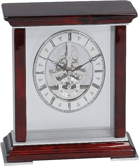 Elegance 15141 Mahogany Table Skeleton Clock Silver Multi Color Amazon Ca Home Kitchen