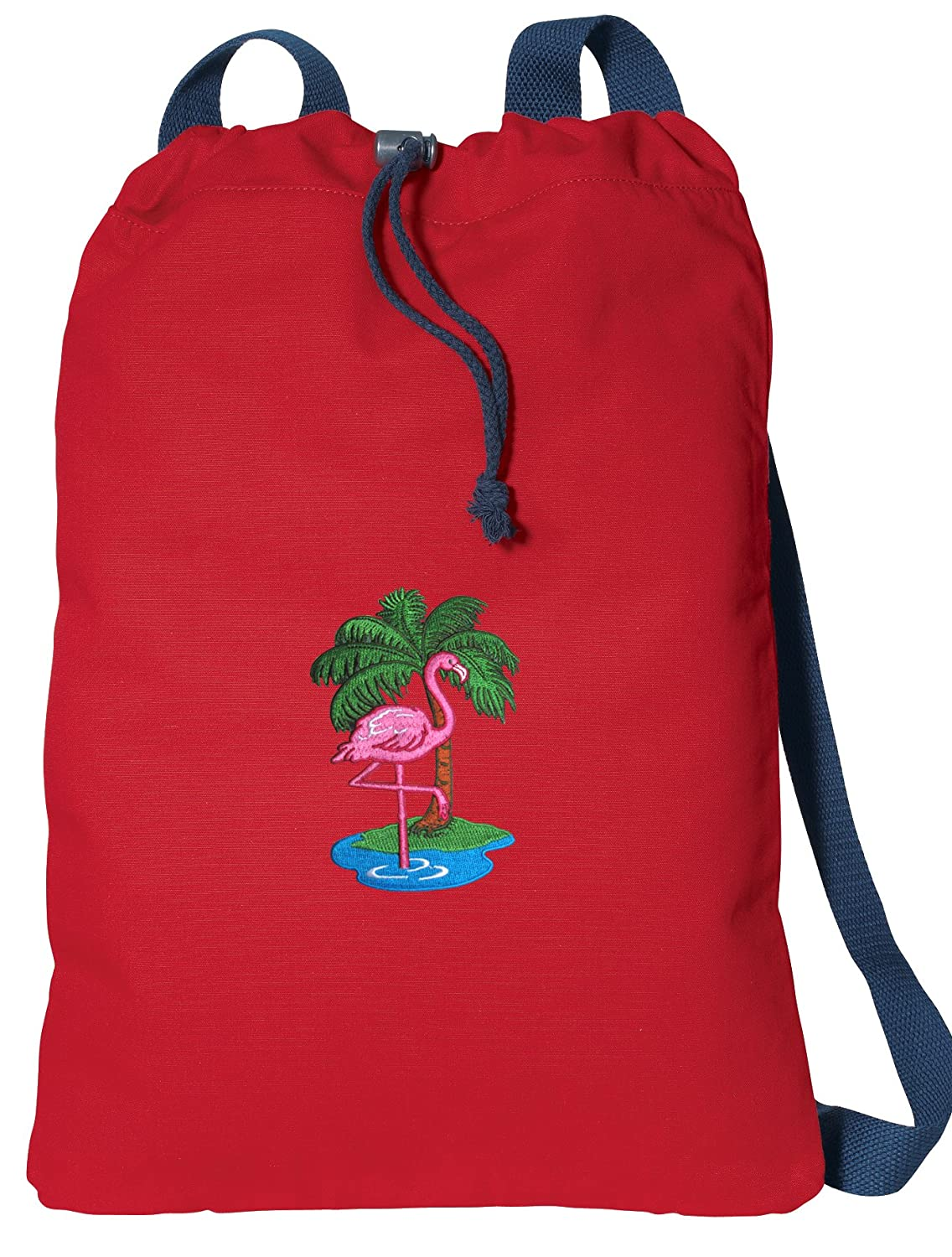 Flamingos Drawstring Backpack CANVAS Pink Flamingo Cinch Pack